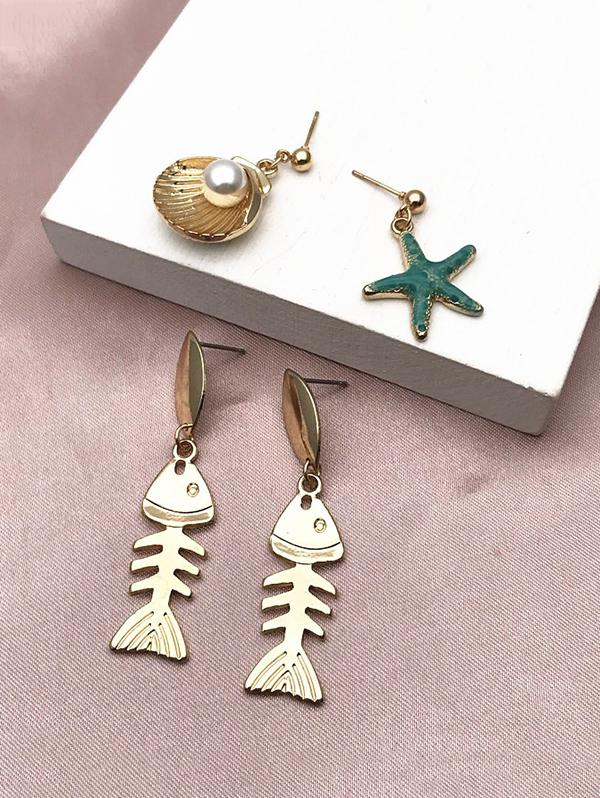 2Pairs Fishbone Faux Pearl Earrings Set