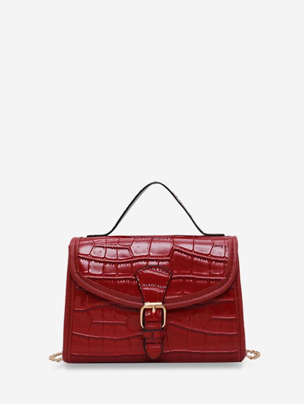 Animal Embossed Buckled Chain Crossbody Bag