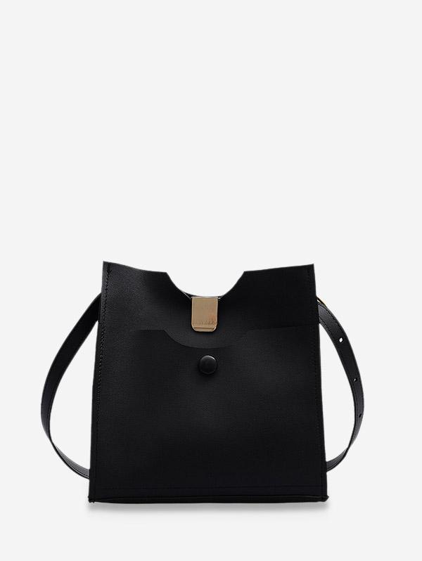 Pure Color Leather Sling Bucket Bag