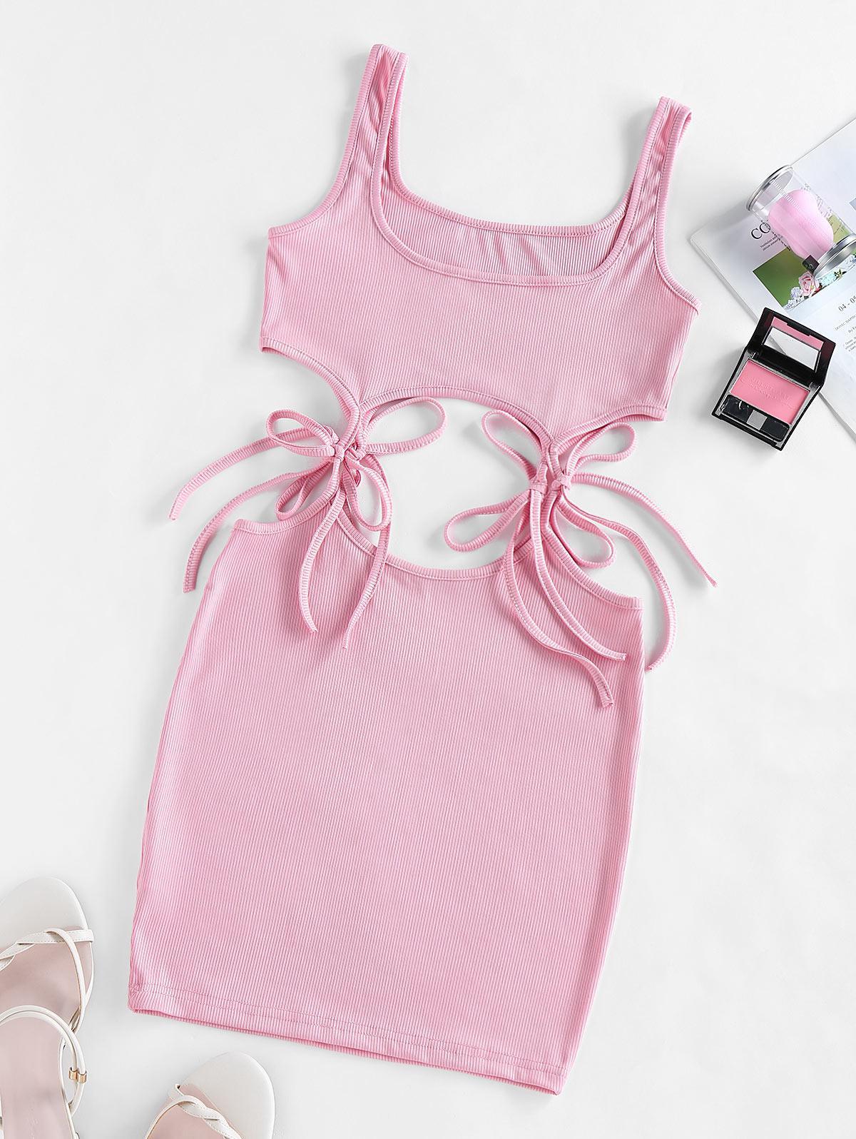 Tie Waist Cut Out Mini Tank Dress