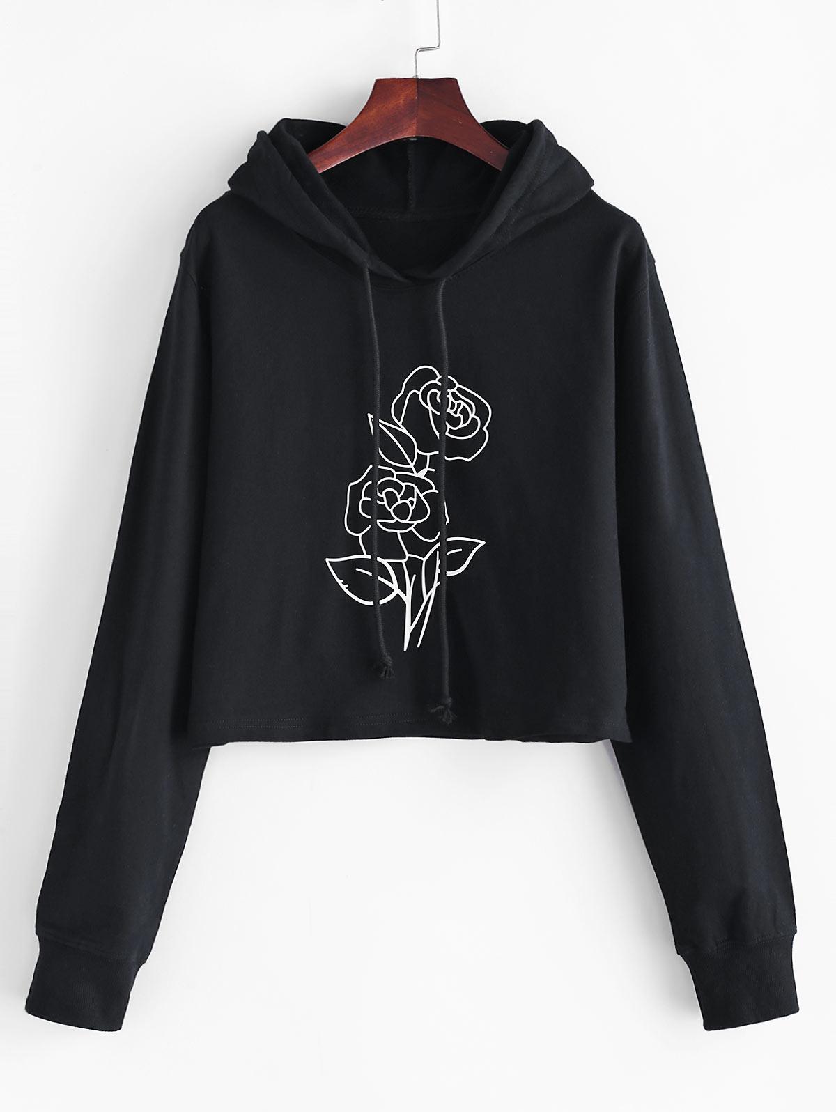 Boxy Rose Print Hoodie
