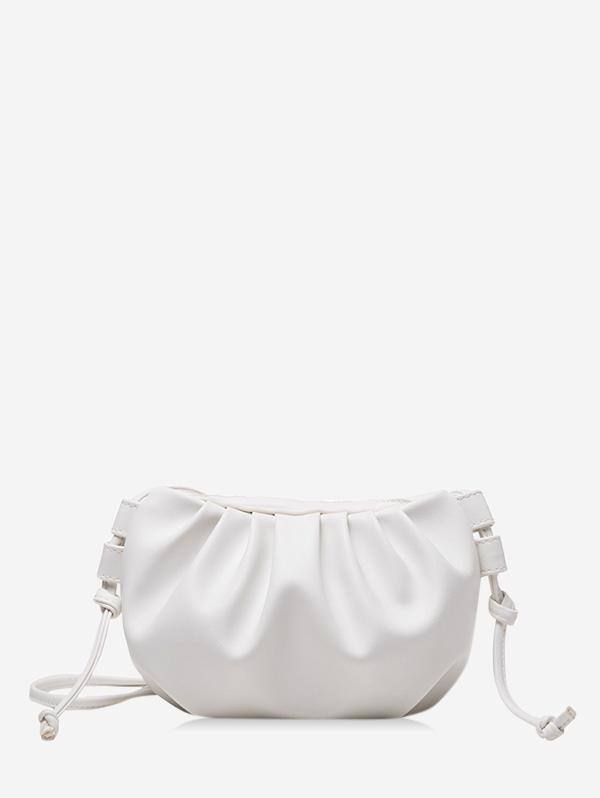 Pure Color Pleated Leather Sling Bag