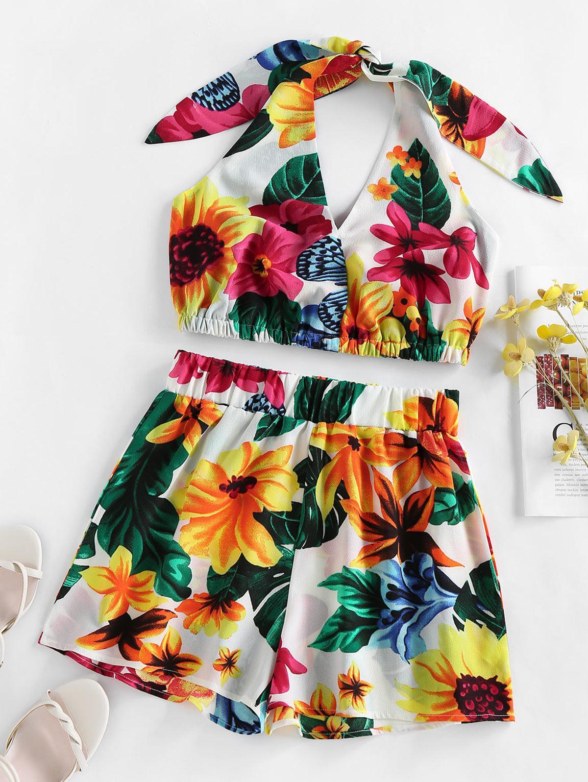 ZAFUL Halter Tropical Print High Waisted Shorts Set