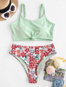 Ribbed Flower Print Tankini Swimwear