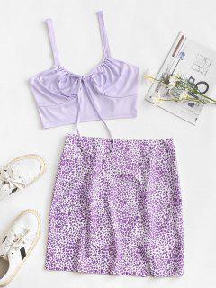 Heart Print Tie Two Piece Dress - Purple L
