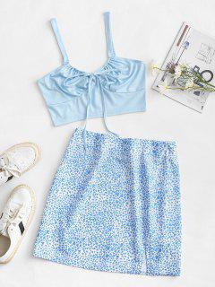 Heart Print Tie Two Piece Dress - Light Blue M