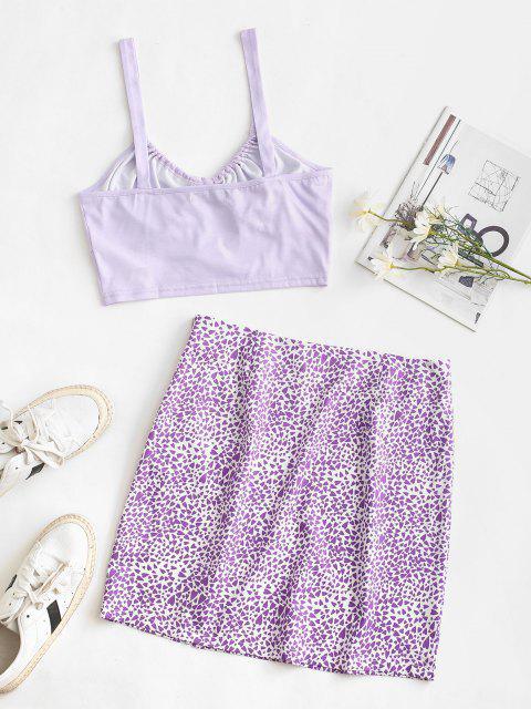 DosPiezasdeFaldaEstampado Corazón - Púrpura L Mobile