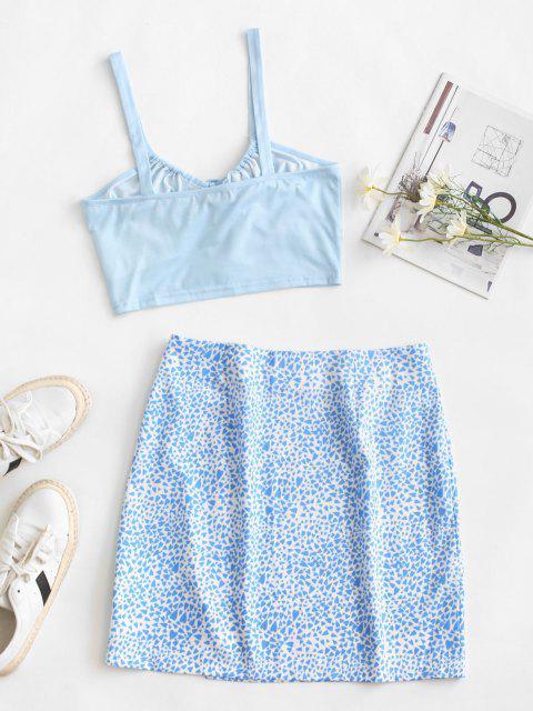 women's Heart Print Tie Two Piece Dress - LIGHT BLUE M Mobile