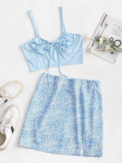 ladies Heart Print Tie Two Piece Dress - LIGHT BLUE XL Mobile
