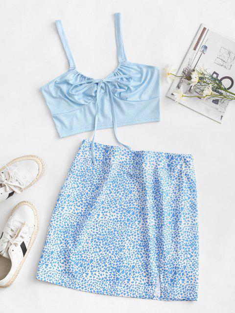 ladies Heart Print Tie Two Piece Dress - LIGHT BLUE XL Mobile