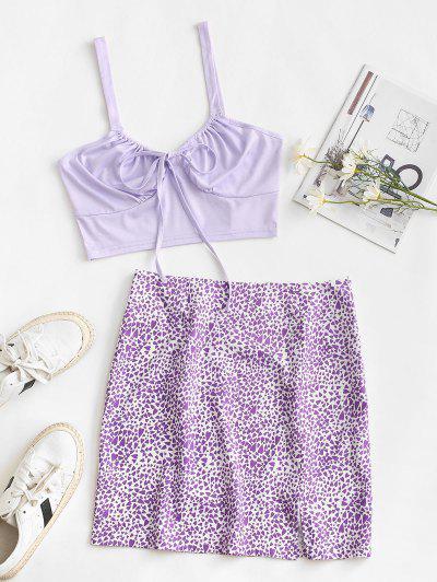 Heart Print Tie Two Piece Dress - Purple M