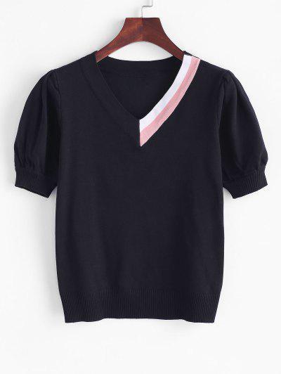 Colorblock Puff Sleeve Knitwear - Black