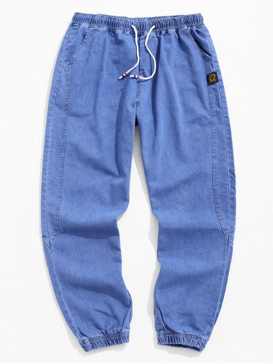 unique Applique Stitching Drawstring Jogger Jeans - BLUE S