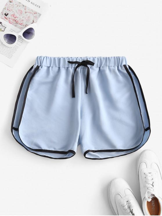 outfit Tie Binding Pull On Casual Shorts - LIGHT BLUE S