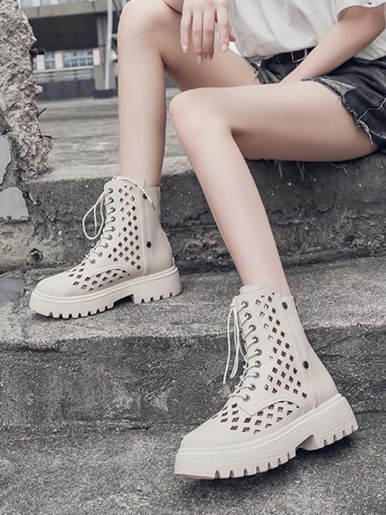 unique Hollow Out Leather Cargo Ankle Boots - BEIGE EU 39