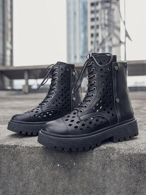 affordable Hollow Out Leather Cargo Ankle Boots - BLACK EU 37