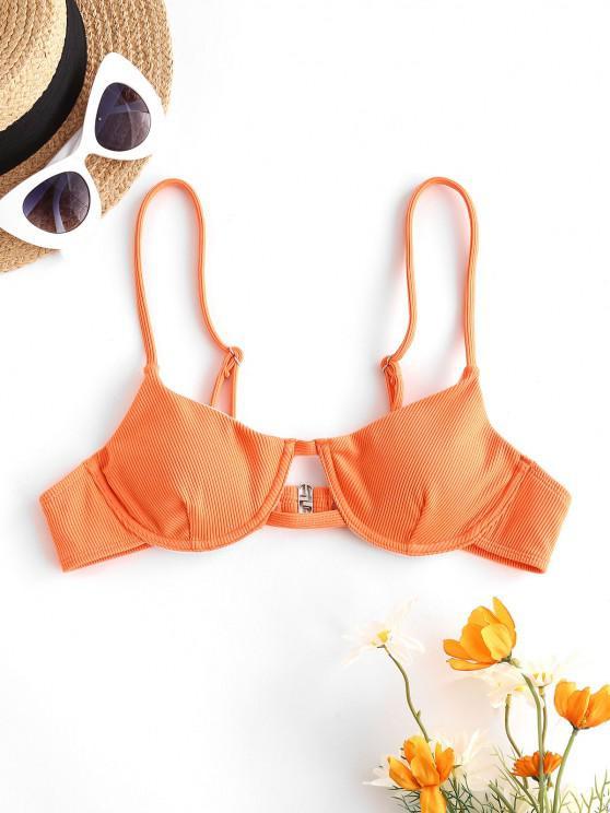 trendy ZAFUL Underwired Ribbed Bikini Top - ORANGE M