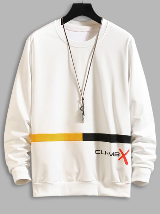 outfits Letter Graphic Print Colorblock Sweatshirt - WHITE XS