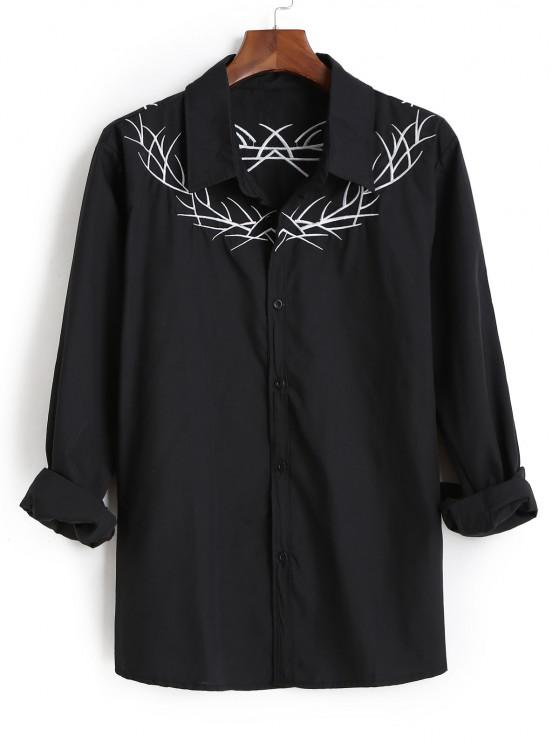 Embroidered  Long Sleeves Shirt - أسود 2XL