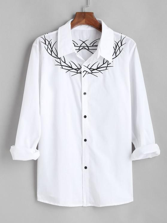 ladies Embroidered  Long Sleeves Shirt - WHITE XL
