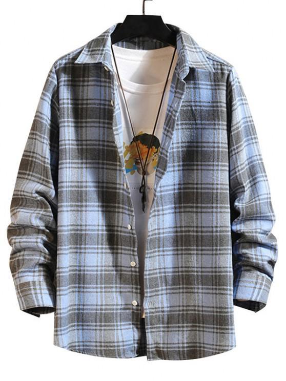 lady Plaid Button Down Long Sleeve Shirt - BLUE XL