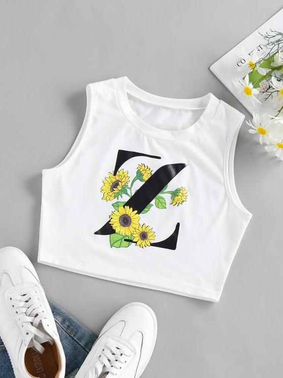 women's ZAFUL Sunflower Z Graphic Crop Tank Top - WHITE S