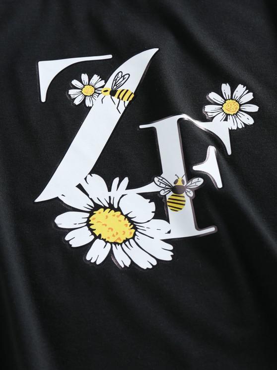 ZAFUL Flower Bee Letter Print Crop T-shirt - Black Xl