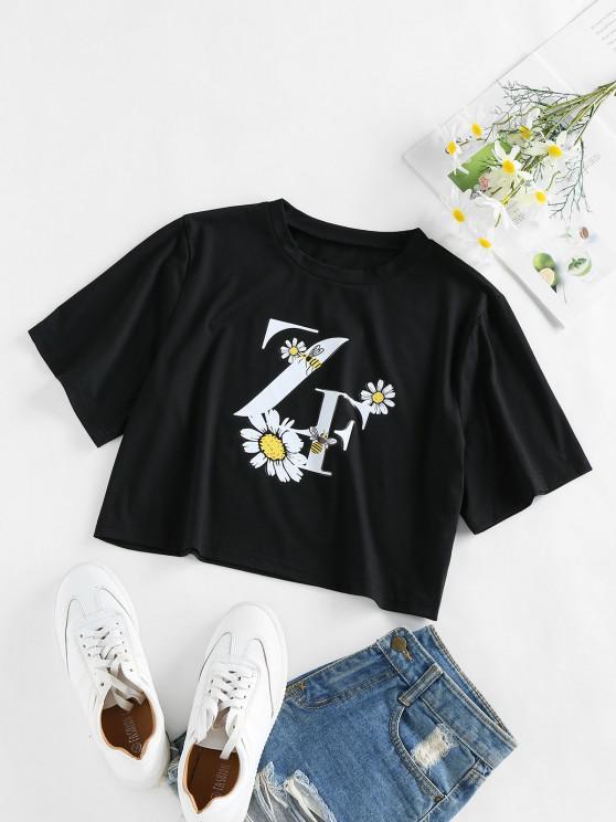 lady ZAFUL Flower Bee Letter Print Crop T-shirt - BLACK XL