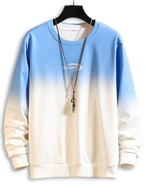Moletom pintado com gola cavada - Azul L