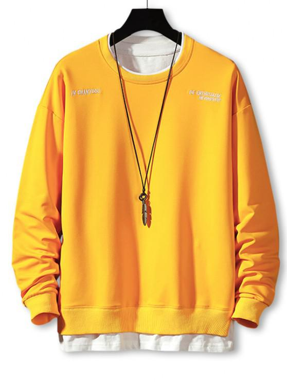 shops Letter Embroidery Faux Twinset Sweatshirt - YELLOW XL