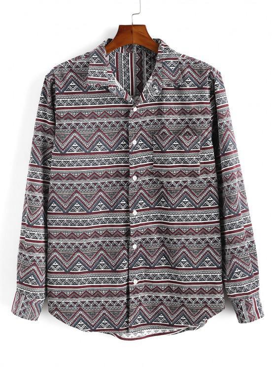 Tribal Geometric Print Pocket Velour Shirt - أحمر عميق XL