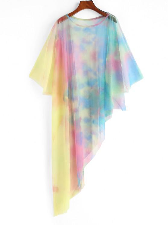 Vestido de Praia com Malha Transparente - Multi Um Tamanho