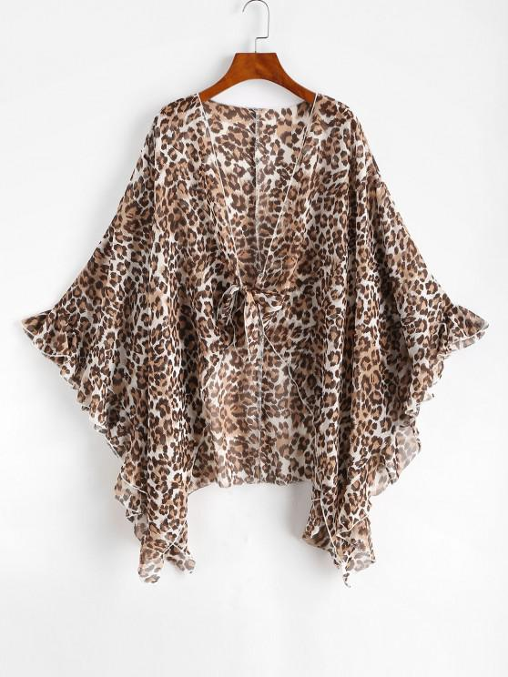 women's Knotted Leopard Beach Cover Up - DEEP COFFEE XL