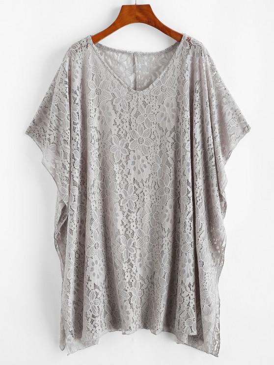 Vestido de Poncho de mangas curtas com painel de renda - Cinza claro Um Tamanho