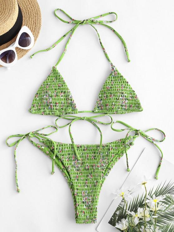 ZAFUL Floral Tie Smocked String Bikini Swimsuit - أخضر L