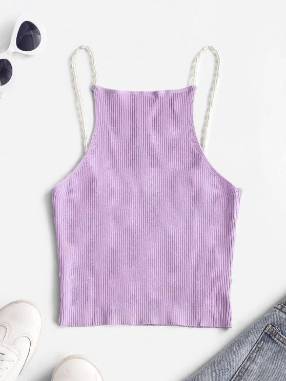 lady Ribbed Faux Pearls Straps Knitted Tank Top - MAUVE M