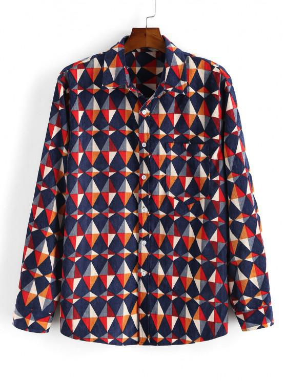 outfit Geometric Print Pocket Patch Long Sleeve Shirt - DEEP RED M