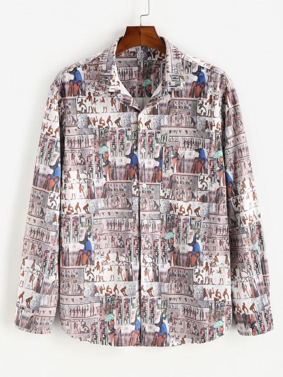 trendy Button Down Indian Pattern Velour Pocket Shirt - MULTI L