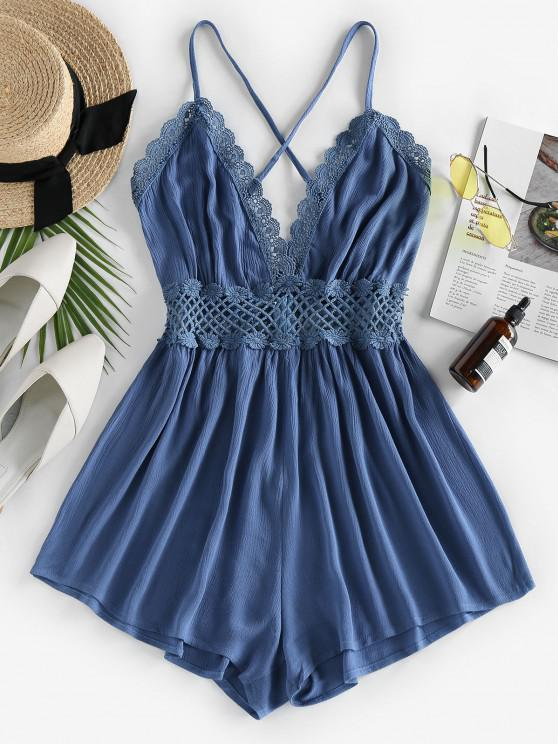shop ZAFUL Lace Crochet Crisscross Romper - DEEP BLUE L