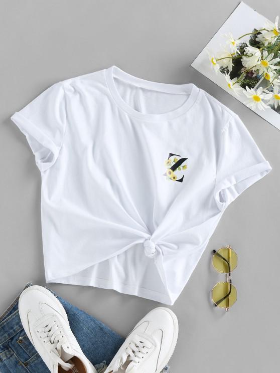 lady ZAFUL Graphic Sunflower Logo Print T Shirt - WHITE XL