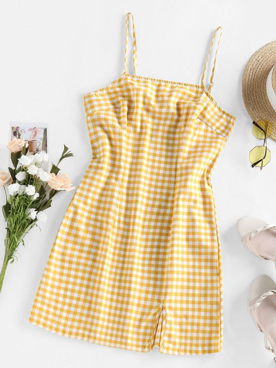 sale Checkered Side Slit Cami Holiday Dress - BEE YELLOW L