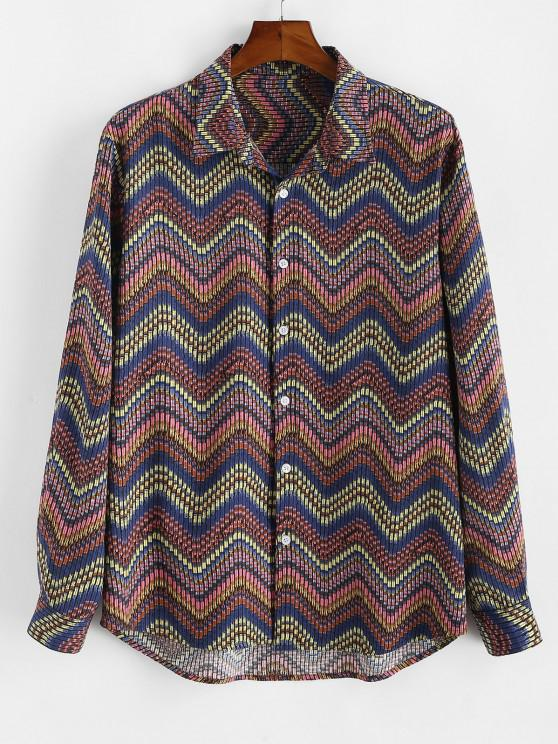affordable Tribal Zigzag Print Button Down Shirt - MULTI 3XL