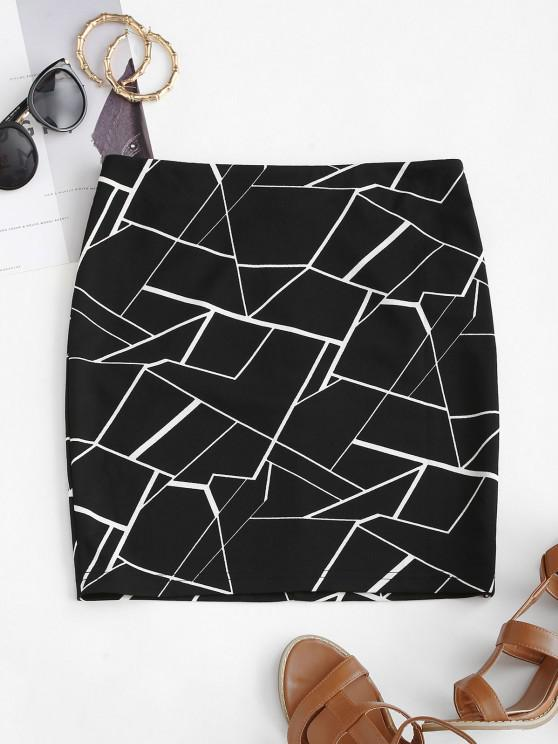 buy ZAFUL Geometric Mini Bodycon Skirt - BLACK S