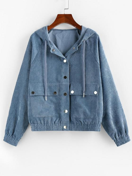 womens ZAFUL Corduroy Hooded Pocket Raglan Sleeve Jacket - BLUE GRAY M