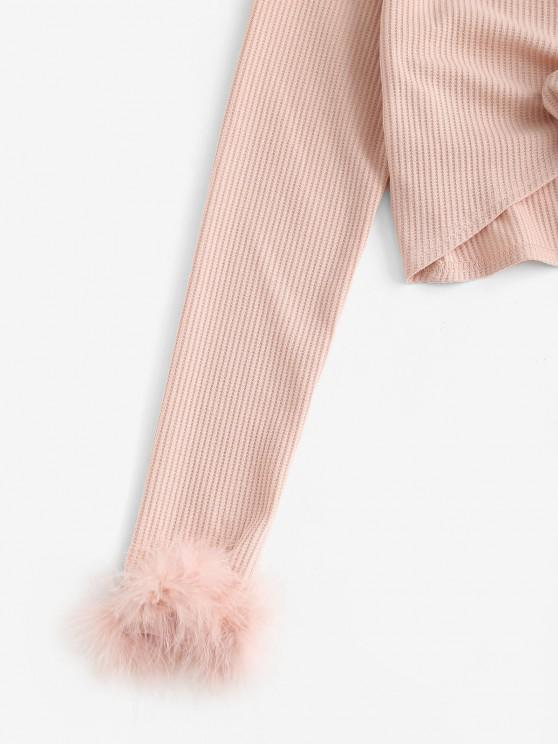 ZAFUL Faux Feather Tie Front Crop T-shirt - Pink M