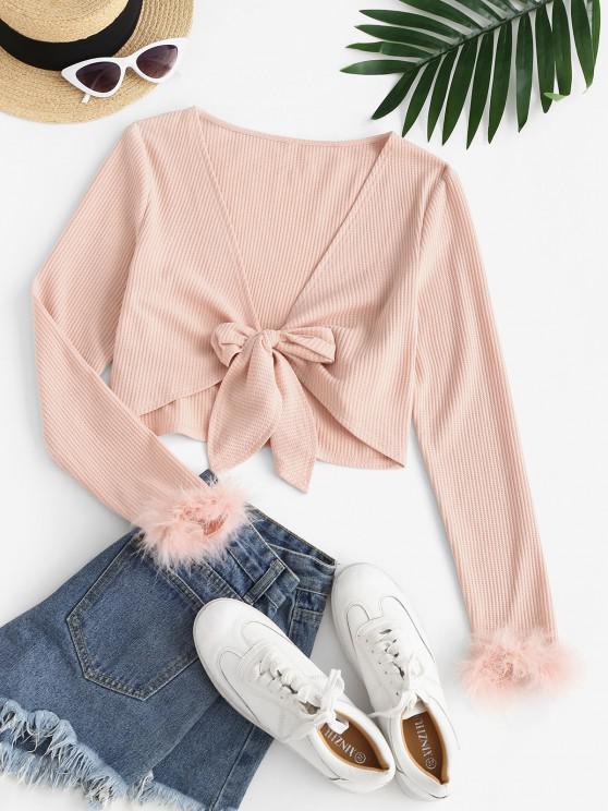 women ZAFUL Faux Feather Tie Front Crop T-shirt - PINK XL