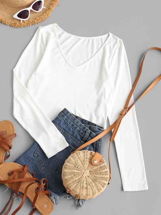 women ZAFUL Ribbed Fitted V Neck Crop T-shirt - WHITE S