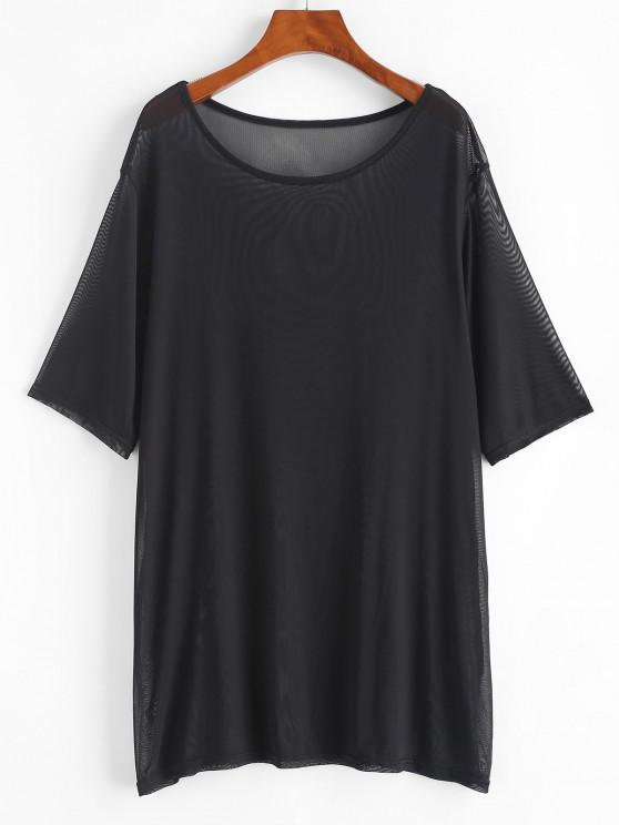 trendy Plain Sheer Mesh Cover Up Top - BLACK S