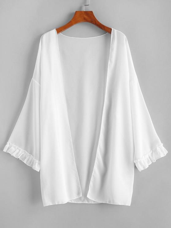 Open Front Frilled Chiffon Cover Up - أبيض حجم واحد