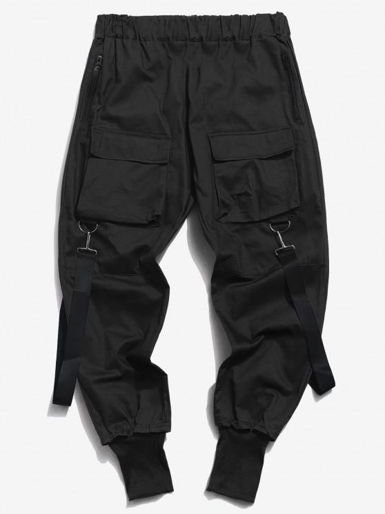 Pantalones Casual Bolsillos y Zipper - Negro S